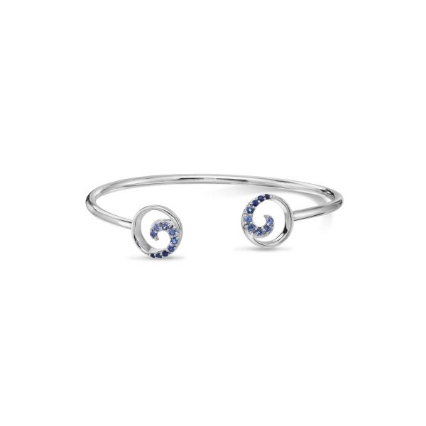 Sterling Silver Graduated Blue Sapphire Wave Bracelet Johnny's Lakeshore Jewelers South Haven, MI