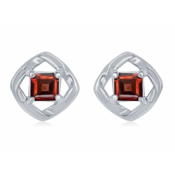 Silver Earrings with Garnet  Johnnys Lakeshore Jewelers South Haven, MI