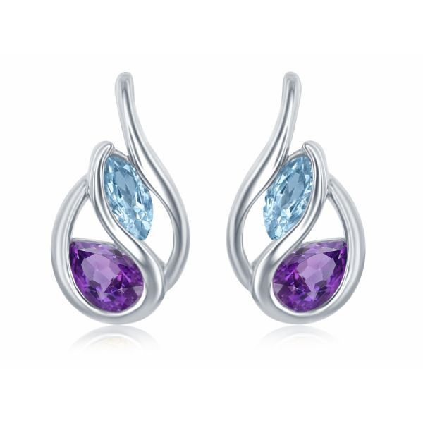 Blue Topaz and Amethyst Earrings Johnny's Lakeshore Jewelers South Haven, MI