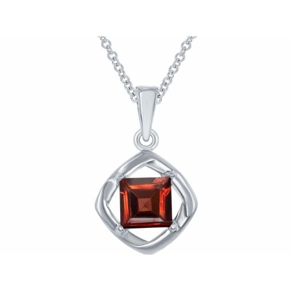 Silver Pendant with Garnet Johnnys Lakeshore Jewelers South Haven, MI