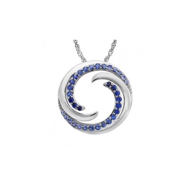 14K White Gold Graduated Blue Sapphire Wave Pendant with Chain Johnny's Lakeshore Jewelers South Haven, MI