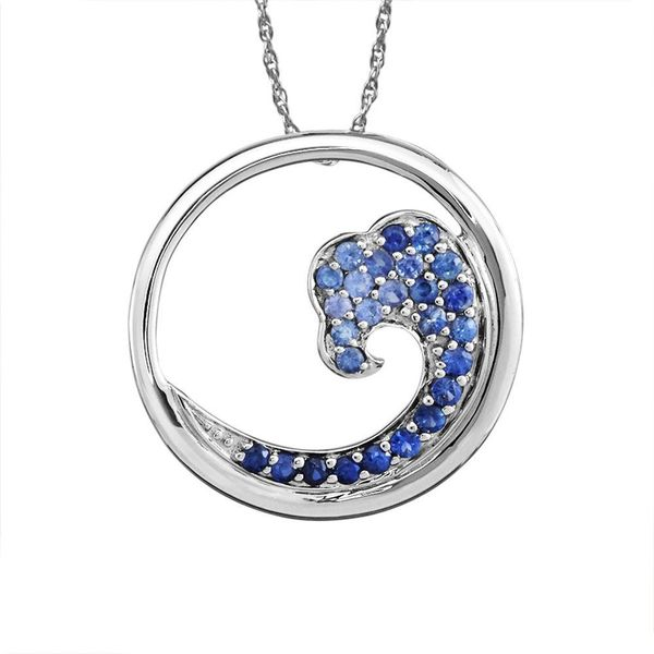Sterling Silver Nature Graduated Blue Sapphire Wave 20mm Pendant Johnny's Lakeshore Jewelers South Haven, MI