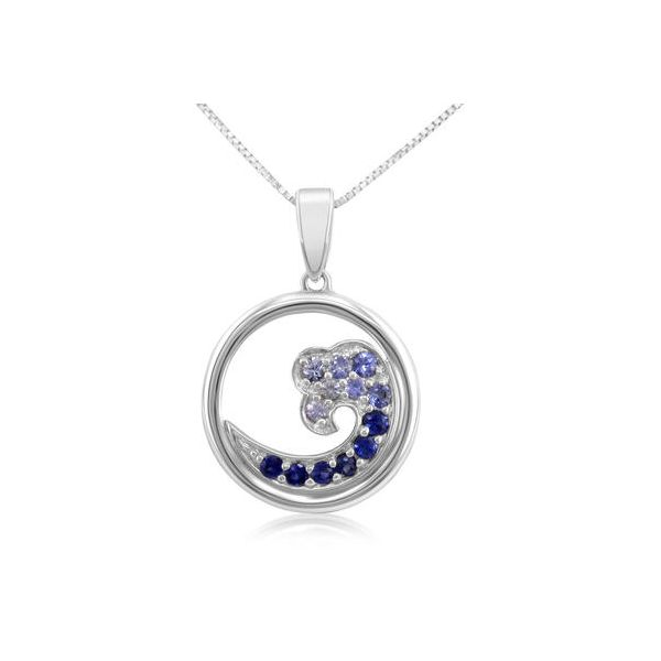 Small Sapphire Wave Pendant Johnny's Lakeshore Jewelers South Haven, MI
