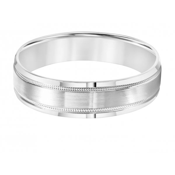 14K White Gold Men's Milgrain Wedding Band Image 2 Martin Busch Inc. New York, NY