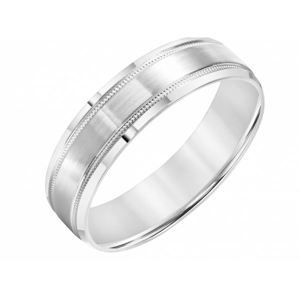 14K White Gold Men's Milgrain Wedding Band Martin Busch Inc. New York, NY