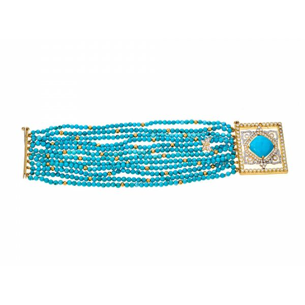 18K Yellow Gold Turquoise & Diamond Beaded Frame Bracelet Javeri Jewelers Inc Frisco, TX