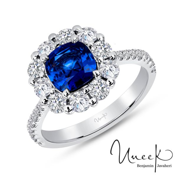 Uneek Cushion-Cut Blue Sapphire Ring with Scallop-Style Shared-Prong Diamond Halo, in 18K White Gold - LVS1015CUBS-2CT Javeri Jewelers Inc Frisco, TX