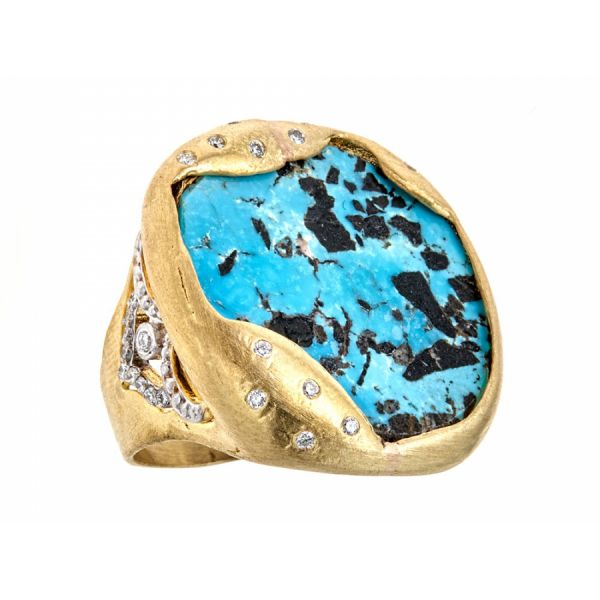 18K Yellow Gold Turquoise Organic Diamond Cocktail Ring Javeri Jewelers Inc Frisco, TX