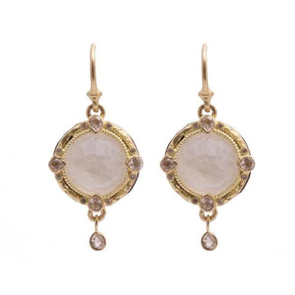 Rainbow Moonstone Diamond earrings Mystique Jewelers Alexandria, VA