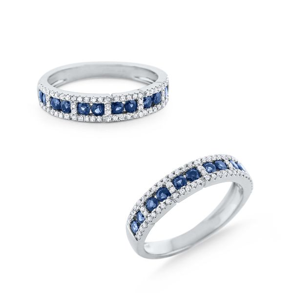 Blue Sapphire & Diamond Band Set in 14 Kt. Gold Mystique Jewelers Alexandria, VA