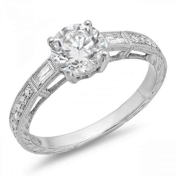 Round Diamond Baguette Engagement Ring Mystique Jewelers Alexandria, VA