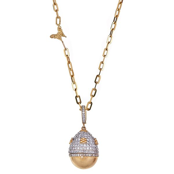 18kt Diamond Egg with Flowers Pendant Mystique Jewelers Alexandria, VA