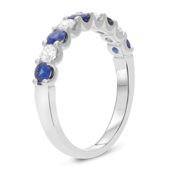 White Gold Sapphire & Diamond Band Image 3 Mystique Jewelers Alexandria, VA