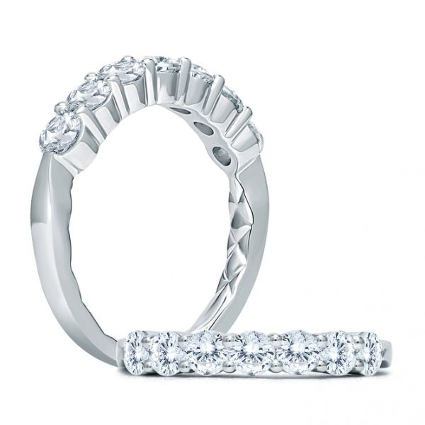 A.JAFFE | 18K White Gold Seven Diamond Wedding Band | Style No. 001-785-00593