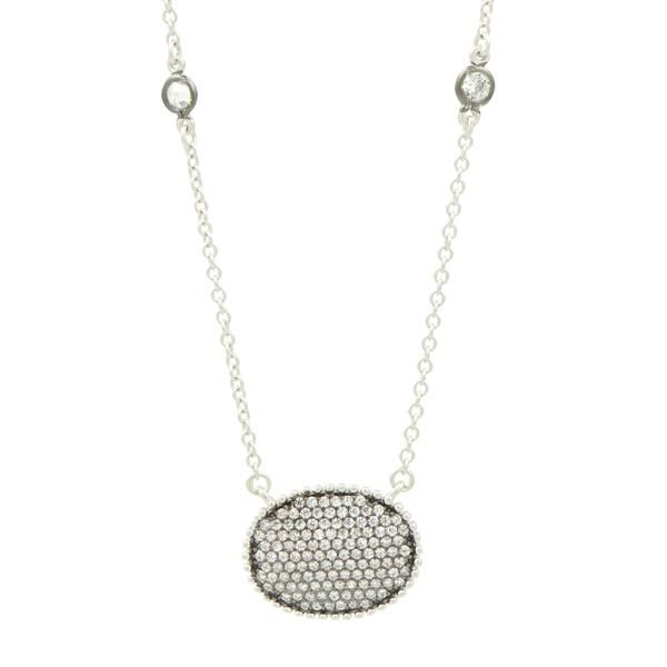 Pave oval disc pendant w necklace Freida Rothman Image 2 Parris Jewelers Hattiesburg, MS