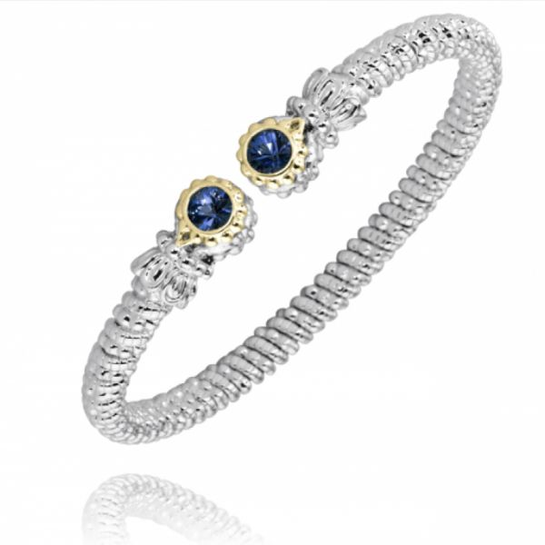 Sterling Silver and 14k Gold Bracelet- London Blue Topaz Parris Jewelers Hattiesburg, MS