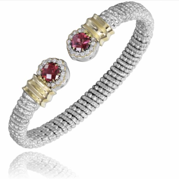 Sterling Silver and 14k Gold with Diamonds and Rhodolite Garnet Parris Jewelers Hattiesburg, MS