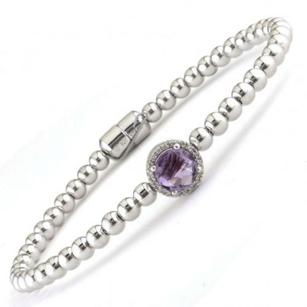 Sterling Silver amethyst and diamond bracelet with magnetic clasp Parris Jewelers Hattiesburg, MS