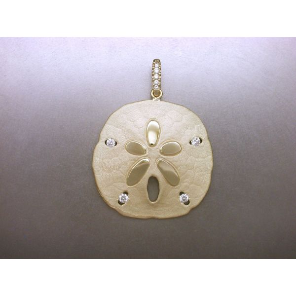 Sand Dollar Pendant 34 mm 4 Dia and DB  William Phelps Custom Jeweler Naples, FL