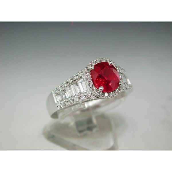 Jye's Platinum Ruby and Diamond Ring  William Phelps Custom Jeweler Naples, FL