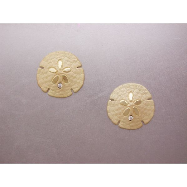 Sand Dollar Earrings 22 mm with Dia Ctr Posts William Phelps Custom Jeweler Naples, FL