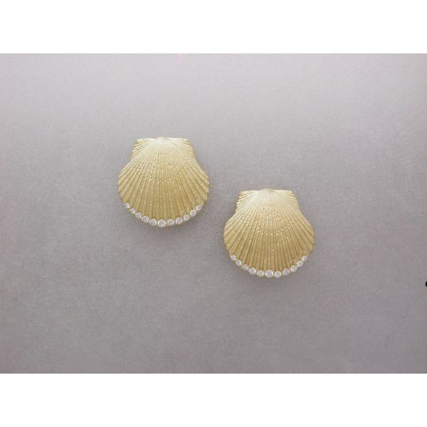 Scallop Shell Earrings with Diamond Edge William Phelps Custom Jeweler Naples, FL