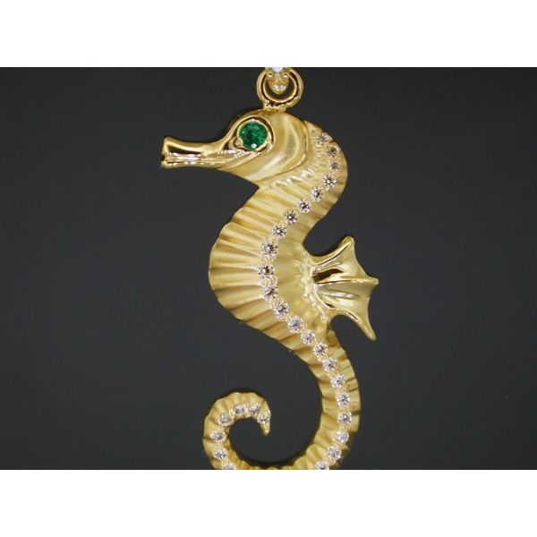 Seahorse Pendant 27 mm Emerald Eye and Dia William Phelps Custom Jeweler Naples, FL