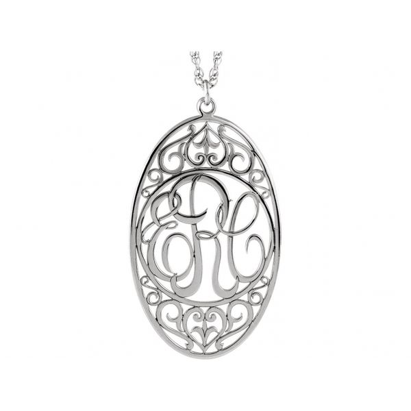 Oval 3-Letter Script Monogram Necklace Image 3 Polly's Fine Jewelry N. Charleston, SC