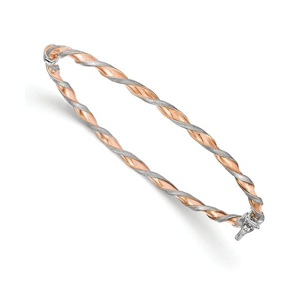 14K Rose Gold & White Gold Twisted Bangle Bracelet Polly's Fine Jewelry N. Charleston, SC