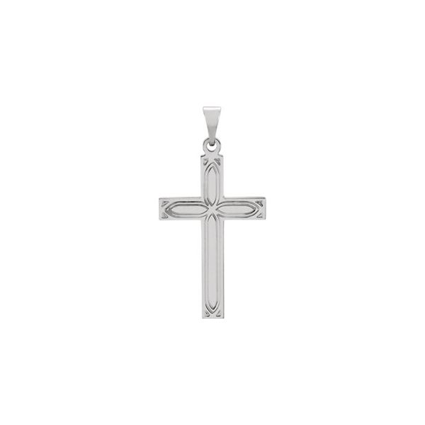 14K White Gold Engraved Cross Pendant Polly's Fine Jewelry N. Charleston, SC
