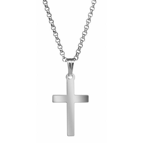 Sterling Silver Plain Polished Cross Necklace Polly's Fine Jewelry N. Charleston, SC