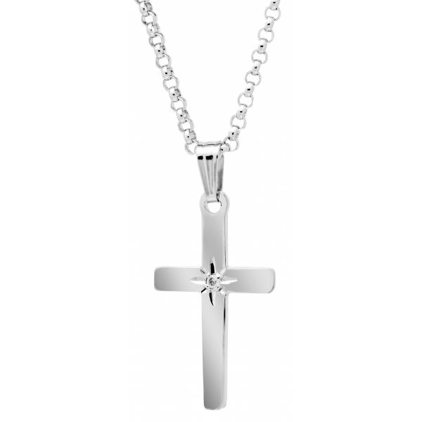 Sterling Silver Cross with Diamond Necklace Polly's Fine Jewelry N. Charleston, SC