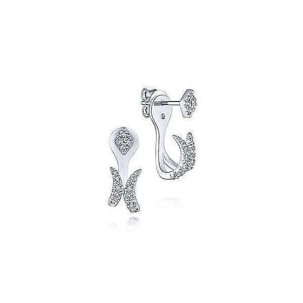 14K White Gold Peek A Boo Kite and Curved Diamond Bar Earrings Polly's Fine Jewelry N. Charleston, SC
