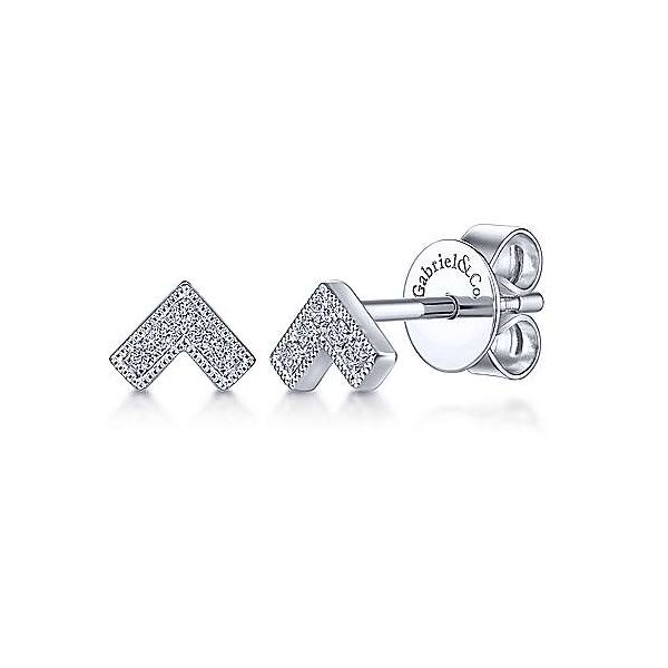 White Gold Diamond V Shaped Stud Polly's Fine Jewelry N. Charleston, SC