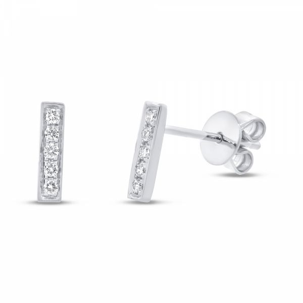 14K White Gold Pave Diamond Bar Studs Polly's Fine Jewelry N. Charleston, SC