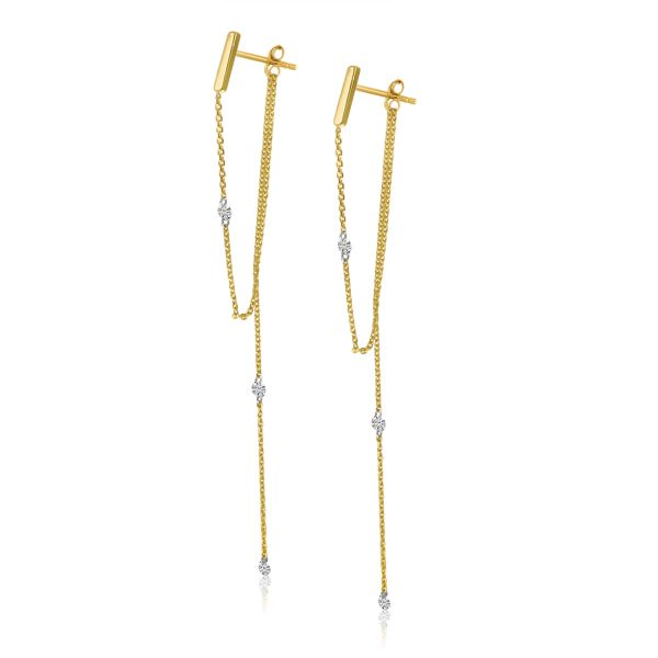 14K Yellow Gold Pierced Diamond Chain Dangling Post Earrings Polly's Fine Jewelry N. Charleston, SC