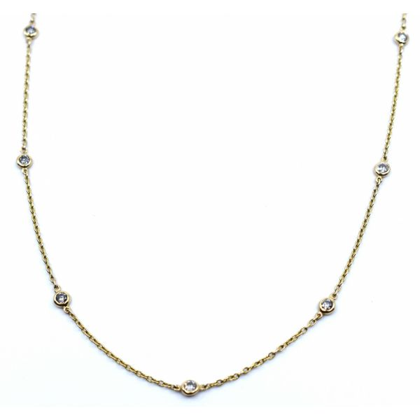 14K White Gold 2.13ctw Diamond Bezel Station Necklace Polly's Fine Jewelry N. Charleston, SC