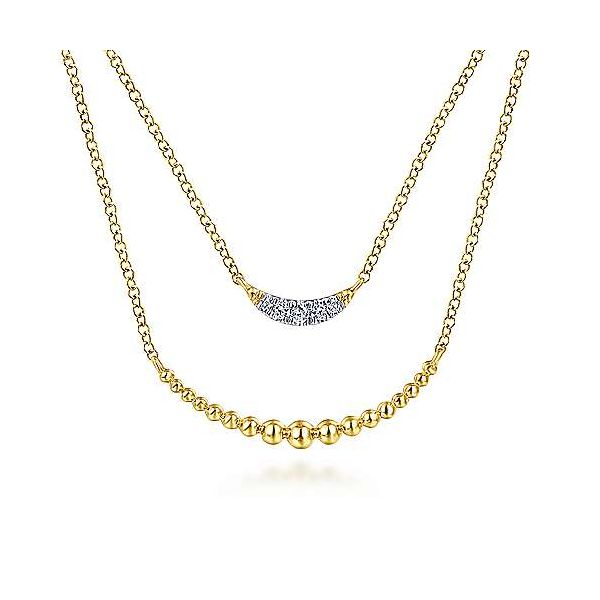 Beaded Diamond Bar Layered Necklace Polly's Fine Jewelry N. Charleston, SC
