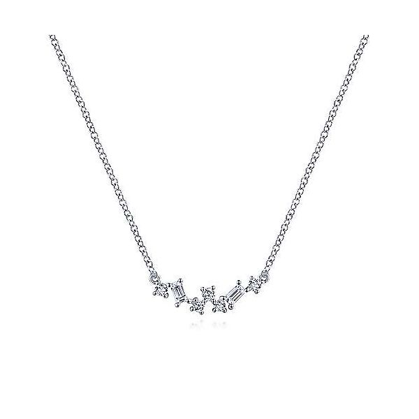 14K White Gold Baguette and Round Diamond Zig Zag Necklace Polly's Fine Jewelry N. Charleston, SC