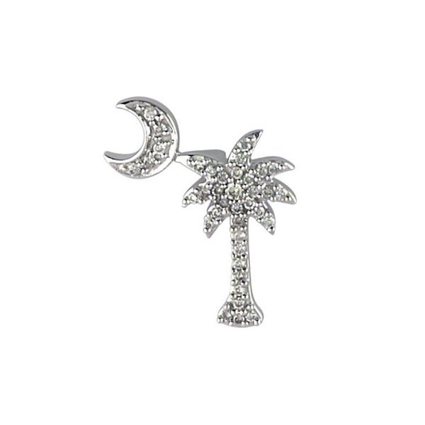 14K White Gold Palmetto and Crescent Moon Diamond Necklace Polly's Fine Jewelry N. Charleston, SC