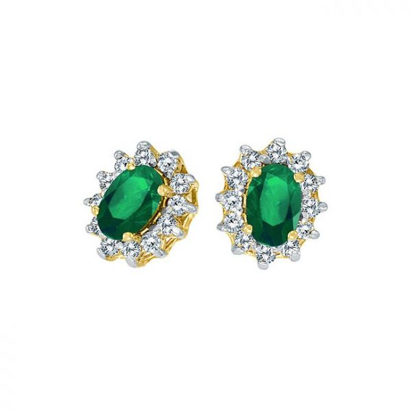 14K Yellow Gold Precious Oval Emerald and Diamond Earrings Polly's Fine Jewelry N. Charleston, SC