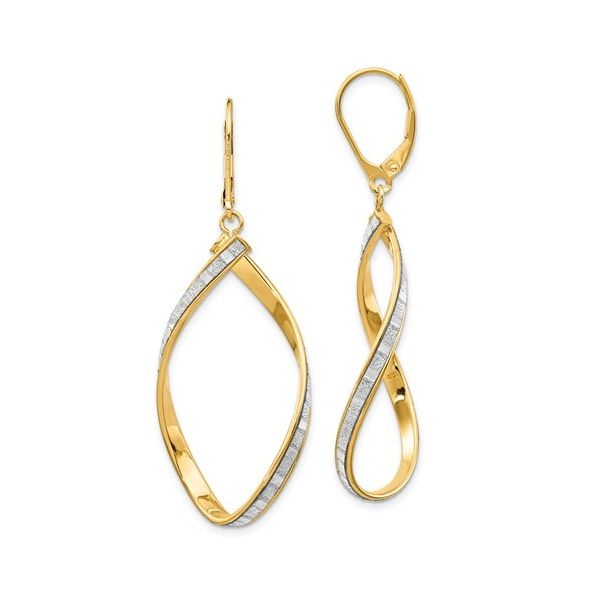 14K Glimmer Infused Twisted Leverback Earrings Polly's Fine Jewelry N. Charleston, SC