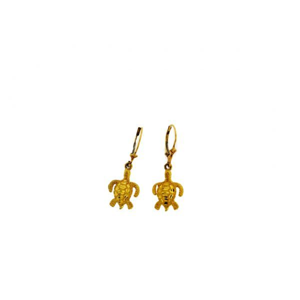 Yellow Gold Turtle Earrings Polly's Fine Jewelry N. Charleston, SC