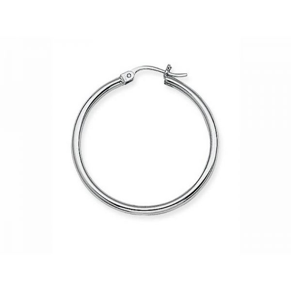 White Gold 2x30mm Hoop Earrings Polly's Fine Jewelry N. Charleston, SC