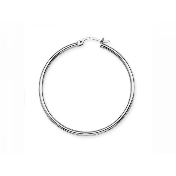 White Gold 2x40mm Hoop Earrings Polly's Fine Jewelry N. Charleston, SC