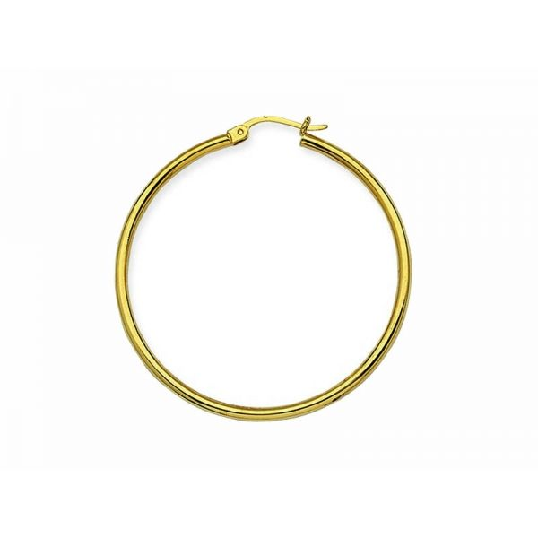 Yellow Gold 2x40mm Hoop Earrings Polly's Fine Jewelry N. Charleston, SC