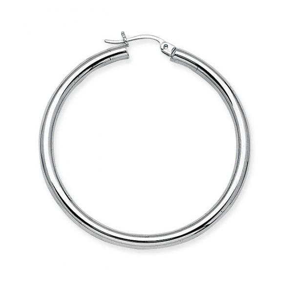 White Gold 3x40mm Hoop Earrings Polly's Fine Jewelry N. Charleston, SC