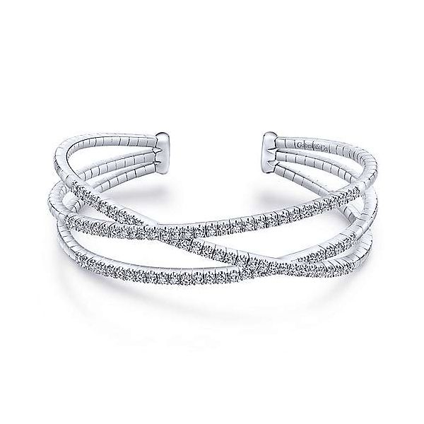 14 K White Gold 1.67 CTW Criss-Cross Diamond Cuff Bracelet Polly's Fine Jewelry N. Charleston, SC