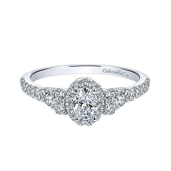 Complete Oval Cut .70 ctw White Gold Diamond Halo Engagement Ring Polly's Fine Jewelry N. Charleston, SC