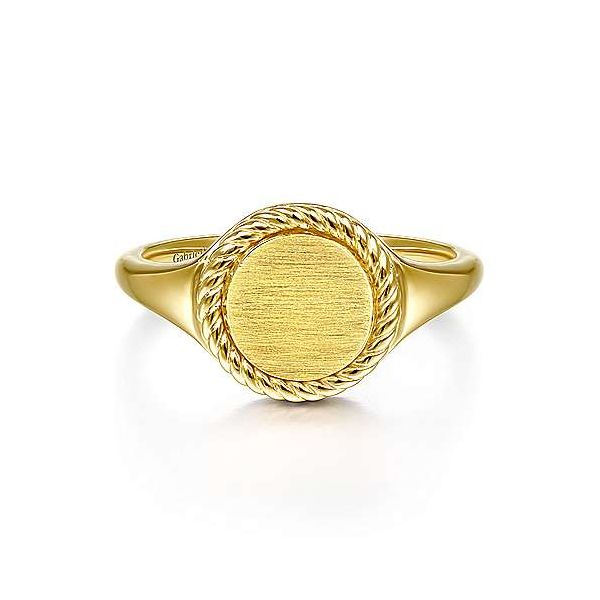 14K Yellow Gold Round Signet Ring with Twisted Rope Frame Polly's Fine Jewelry N. Charleston, SC